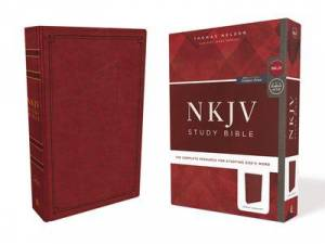 Nkjv Study Bible, Leathersoft, Red, Comfort Print
