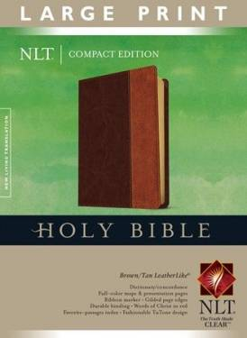 Compact Edition Bible Nlt, Large Print Brown Tan Leatherlike