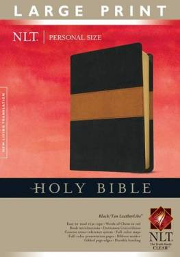 Holy Bible Nlt, Personal Size Large Print Edition Black Tan Leatherlike