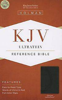 Kjv Ultrathin Reference Bible, Charcoal Leathertouch