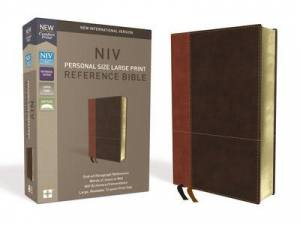 Niv, Personal Size Reference Bible, Large Print, Leathersoft, Tan/Brown, Red Letter Edition, Comfort Print