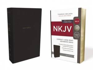 Nkjv, Reference Bible, Compact Large Print, Leathersoft, Black, Red Letter Edition, Comfort Print