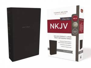Nkjv, Deluxe Reference Bible, Compact Large Print, Leathersoft, Black, Red Letter Edition, Comfort Print