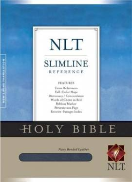 Nlt Slimline Reference Bible, Navy